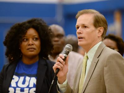 Jim Peyser congratulates Michelle Ryan