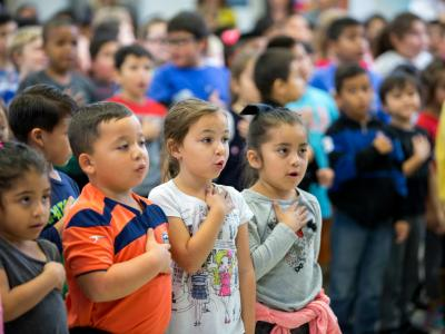 Joe Mathias students pledge of allegiance