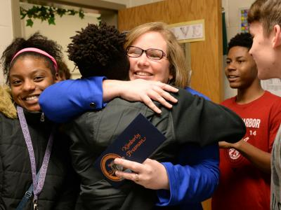 Lexington hugs from students