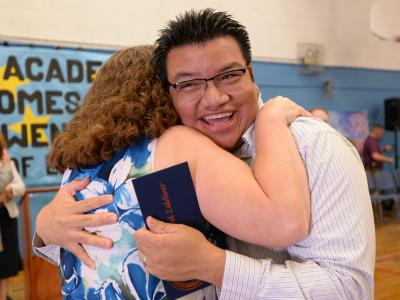 Manny Zaldivar hug from colleague 2