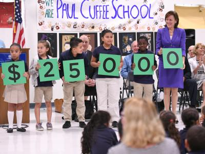 Paul Cuffee students spell award amount