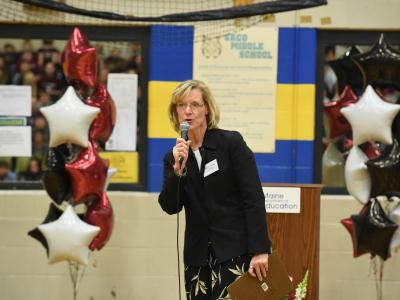 Saco Middle principal Laurie Wood