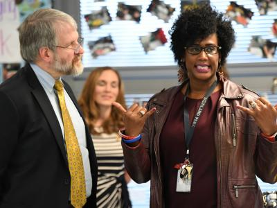 Tiffany Tynes Curry Paolo DeMaria in classroom