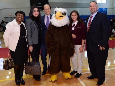 Tracy Espiritu notification Mike Milken and Milken Scholars with Einstein Eagle