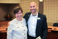 Bradley LeDuc pinning with Alice Bertels