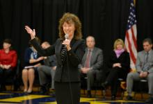 Jane Foley addresses Haslett HS