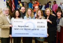 Maggie Hawk Mike Milken group with check