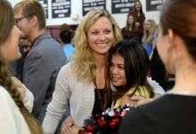Derryberry gets hugs from students
